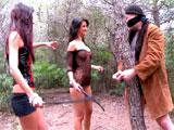Atado, torturado y follado por dos putas
