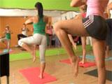 Las alumnas de la clase de yoga