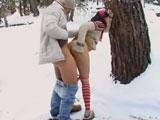 Porno en la nieve por navidad